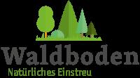 Logo Waldboden Einstreu von Schierbecker, Schriftzug mit stilisierten Waldbäumen